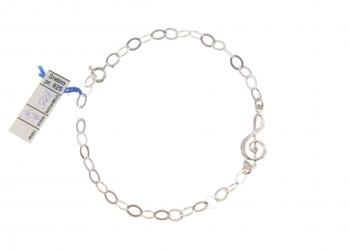 Zebra Music bracelet treble clef, silver, B005
