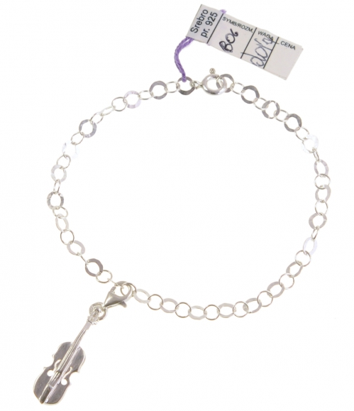 Zebra Music bracelet with violin, silver, B006