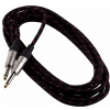 RockCable kabel instrumentalny - straight TS (6.3 mm / 1/4), braided cloth mantle, black - 3 m / 9.8 ft.