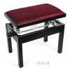 MStar Sonata ława do pianina, kolor: czarny mat, siedzisko bordo welur
